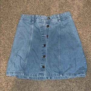 Denim Jean Skirt Button Up